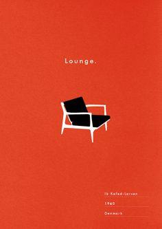 Mid Century Chair Poster Lounge art print danish modern illustration typography. via Etsy.
