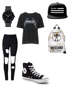 """""""How to wear a canvas backpack"""" by sylarpembo on Polyvore featuring Moschino, Topshop, WithChic, Converse and The Horse"""