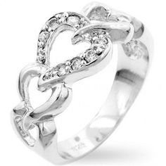 White Gold Rhodium Bonded to .925 Sterling Silver Heart Link Eternity Band with Round Cut Clear CZ in a Prong Setting in Silvertone.  Only $31.99 + Free Shipping.