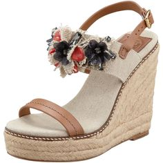 063d6fba22e413 Tory Burch Mallory Lin Espadrille Wedge Sandal ( 275) found on Polyvore  Espadrille Wedge