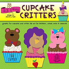 These adorable 'Cupcake Critters' are bright, bold & ready for a party! Save 25% on this unique DJ clip art set for a limited time. (Only through 2/11/15.)
