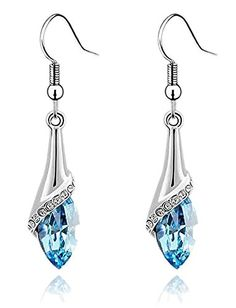 * Penny Deals * - Colorstation Women Fashion Jewelry Crystal Drop Shaped Dangle Earrings Color Sea Blue *** Want additional info? Click on the image.