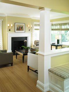 half wall with columns bedroom - Google Search Interior Columns, Interior Architecture, Estilo Craftsman, Craftsman Style, Craftsman Trim, Craftsman Columns, Modern Craftsman, Demis Murs, Interior Design Blogs