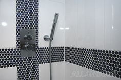 entry to the Topps Tiles show Off Your Style Gallery. Parisian Bathroom, White Bathroom, Topps Tiles, Blue Floor, White Tiles, Classic Style, Door Handles, Mosaic, Bathtub