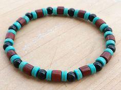 Men's Bracelet, Black Tourmaline Bracelet, Turquoise Bracelet, Rosewood Bracelet, Boho Bracelet, Yoga Bracelet, Mala Bracelet, Wrist Mala by CrystaliciousDesigns on Etsy