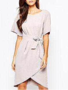 Grey Short Sleeve Asymmetric Dress