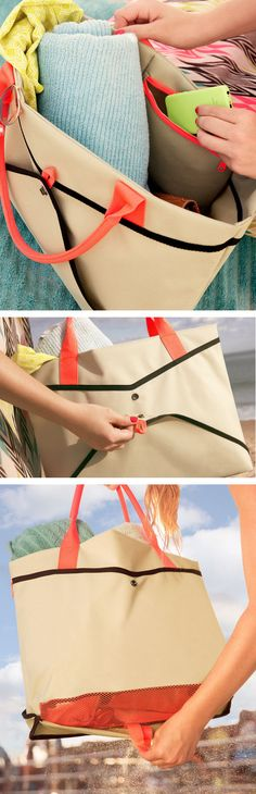 Shake Bag - GENIUS for beach lovers.. a tote that sifts the sand so it doesn't collect at bottom of bag!