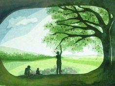 Handgemachte Foto-Grußkarte mit Umschlag. Foto ist von einer ursprünglichen Fensterbild  von eine Familie mit einem Picknick unter einem Apfelbaum. Das beigefügte Foto zeigt nur das Design, das...