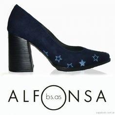 f4acf2d6791 Stiletos azules taco ancho otoño invierno 2017 Alfonsa Calzado De Moda