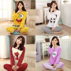 Women Pajamas Sets 2016 Spring Autumn Long Sleeve Pyjama Suits Sleepwear Girls Nightgown Sleep Lounge Homewear 20 Colors G0196 #Affiliate
