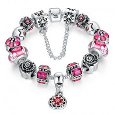 $9.99 925 Silver Black Round Charm Bracelet