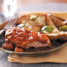 Applesauce Barbecue Chicken Recipe -You only need a few ingredients to create this sweet and peppery chicken. The subtle flavor of apple makes this tender barbecue dish stand out from the rest. —Darla Andrews, Farmers Branch, Texas