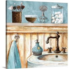 Gango Home Decor Powder Room Sink Still Life; Bathroom Wall Art by Gregory Gorham; Two Blue Unframed Paper Prints (Paper Only, No Frame) Image 2 of 5 Decoupage, Foto Transfer, Blue Bath, Bathroom Wall Art, Bathroom Canvas, Bath Art, Bathroom Prints, Washroom, Contemporary Wall Decor