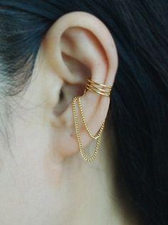 Manguito del oído, oro de 16K sumergido del manguito del oído con cadena, oído chaqueta, abrigo de oreja, cartílago pendiente