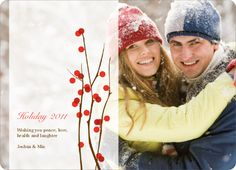Holiday Berries Christmas Cards - Tomato Red. These berry themed holiday photo cards come in a variety of festive colors. Select your own photo and make sure that the key subjects are on either the far left or far right of the picture. We can redesign this card as long as the key focus is on one side or the other. Customize any of the text with your own holiday or Christmas message. Printed on 100% post consumer recycled paper.. Price: $2.59