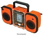 Grace Digital - Eco Terra Waterproof Speakers for Apple® iPhone® and Most MP3 Players - Orange - Larger Front