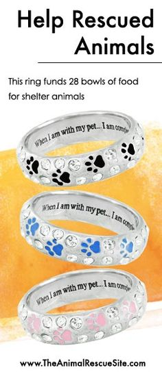At The Animal Rescue Site, every purchase funds meals for Shelter Animals in need. Shopping + Helping Animals = Pawsome! Find this ring & cool paw prints here: www.Shop2give.us/...