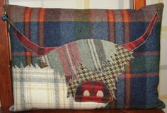 Applique Cushions, Wool Applique Patterns, Tartan, Plaid, Highland Cow Art, Animal Cushions, Cow Face, Handmade Pillows, Picture Design