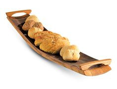"""Wine Barrel Stave Serving Tray. When not using as a serving tray it also doubles as a centerpiece. Sizes may vary from 35"""" to 37"""" from handle to handle and 5"""" to 8""""W.   Use it to serve hors d'oeuvres, fresh fruits, or veggies, the possibilities are endless."""