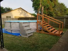 diy pool stairs for above ground pool