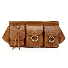 212912aa7d8d Vicenzo Leather Small Adonis Genuine Leather Waist Purse Fanny Pack Brown  *** Check this
