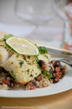 Baked Costa Rican Style Fish with Black Beans and Rice - Omnivore's Cookbook