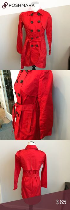 🌼CAbi red trench coat size 0 EUC Cabi red trench coat with tortoiseshell buttons. Removable belt, size 0 EUC CAbi Jackets & Coats Trench Coats