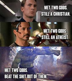 Just 100 Freaking Hilarious Memes About The Marvel Movies - They aren't really gods are they? I thought they were aliens. Really, really, powerful aliens. Marvel Jokes, Funny Marvel Memes, Dc Memes, Avengers Memes, Memes Humor, Marvel Avengers, Hulk Memes, Fandom Memes, Funny Disney Memes