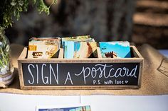 Wedding guestbook alternative idea - guests sign postcards! {Nicolette Moku Photography}