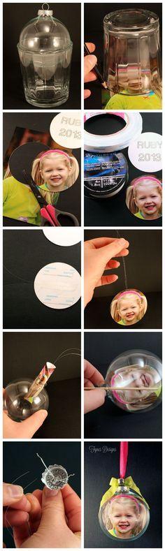(Bricolaje personalizados vidrio ornamentos de la foto. Hacer el recuerdo perfecto o regalo!) http://www.fynesdesigns.com/diy-glass-photo-ornament-tutorial/