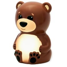 Bowen the Bear Portable Night Light sheds a soft glow to ease fear of the dark and is an entertaining companion any time of day. Bowen is operated using a single, easy to press button on the bottom. Your toddler can select his or her favorite night light color (yellow, teal, red, blue or pink) or press and hold to enter soothing color change mode. In this mode all five colors fade in and out in sequence creating a fun, rainbow effect.<br><br>Bowen the Bear runs for over 100 hours on three…