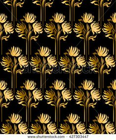 pattern with gold flowers on black background
