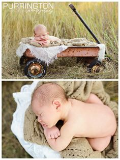 Newborn baby boy in old rusted wagon in a field.  Pose idea ideas.  Brown and red and cream color palette.  Fun unique outdoor photography.  © Purrington Photography www.PurringtonPhotography.com Bemidji Minnesota Photographer