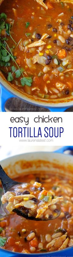 Easy Chicken Tortilla Soup-- Chicken tomatoes fresh corn black beans avocado cheese and cilantro! Fast easy weeknight meal and better than from a restaurant! Chili Recipes, Slow Cooker Recipes, Mexican Food Recipes, Soup Recipes, Chicken Recipes, Cooking Recipes, Healthy Recipes, Healthy Soups, Recipe For Tortilla Soup