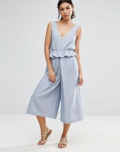 ASOS Jumpsuit with Peplum and Pleated Leg Detail
