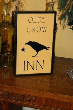 Olde Crow Inn Single Crow Primitive Wall by RusticRiverPrimitive, $24.00