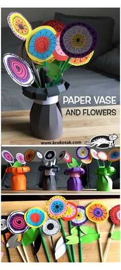 Easy Paper Flowers, Paper Flower Tutorial, Giant Paper Flowers, Diy Flowers, Flowers Vase, Origami Flowers, Toilet Paper Roll Crafts, Paper Crafts, Diy Crafts