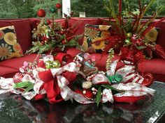 ChristmasTable centerpiece or Mailbox Cover or 3 by WreathsEtc