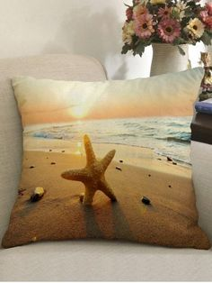 Shop for Colormix W18 Inch * L18 Inch Sunset Beach Pattern Linen Pillowcase online at $3.78 and discover fashion at RoseGal.com Mobile