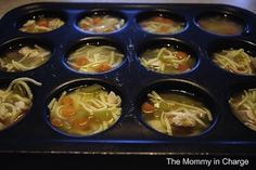 50 Meals You Can Make in a Muffin Tin--Freeze left over soup in muffin tins.