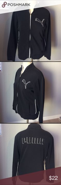 """Puma zip up Great used condition. Women's Sz medium zip up Puma sweatshirt jacket pit to pit is 20"""".  Please see picture of one tiny mark on coat.  Comes from a smoke free home Puma Tops Sweatshirts & Hoodies"""