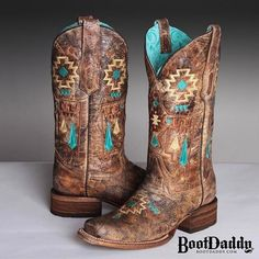 You can never go wrong with a pair of new Corrals! Introducing our exclusive BootDaddy Corral Turquoise Aztec cowgirl boot collection Western Wear, Western Boots, Westerns, Country Boots, Country Outfits, Western Outfits, Over Boots, Boot Bling, Cute Boots