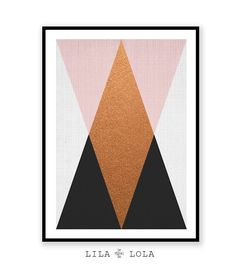 Print 03 is a contemporary downloadable print, featuring a pink, copper, black and grey geometric triangle pattern on a grey woven texture.  Its as