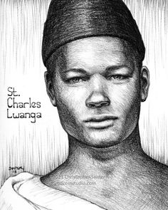 """Christopher Santer on Instagram: """"June 3rd is the feast day of the inspiring St. Charles Lwanga, who was martyred on this day in 1886 alongside 22 other courageous souls…"""" Catholic Art, Roman Catholic, Jesus Drawings, Catholic Pictures, Stress Quotes, Patron Saints, Black Pencil, Saint Charles, Christian Art"""