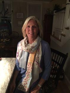 Cathy Wearing Her Vintage Hankie Scarf