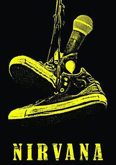 Nirvana Logo, Nirvana Art, Vintage Music Posters, Retro Posters, Rock Band Posters, Plakat Design, Band Wallpapers, Mellow Yellow, Kurt Cobain