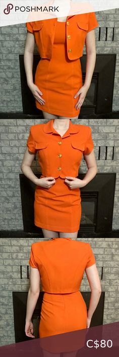 """Orange Vintage Dress & Cropped Jacket Set This set is amazing 🤤🤤 SUCH a cool find By the Brand """"ALGO"""" Crop Dress, Plus Fashion, Fashion Tips, Fashion Trends, Orange Dress, Size 8 Dress, Stains, Buttons, Amazing"""