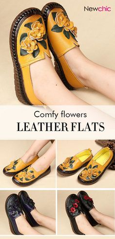 bcf468484 Women Casual Folkways Soft Cow Leather Flowers Flat Shoes is cheap and  comfortable.
