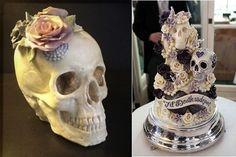 white chocolate skull cake by Eat Me Cupcakes UK left and skull wedding cake right by Choccywoccydoodah