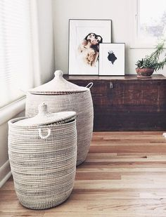 IF YOU HAVE: A boring hamper SWAP IT FOR: A lidded woven basket  Read more: 9 Stylish Swaps That'll Make Your Bedroom Feel New Again